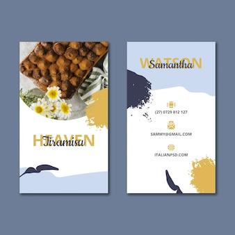 Modello verticale di biglietto da visita fronte-retro di cibo italiano