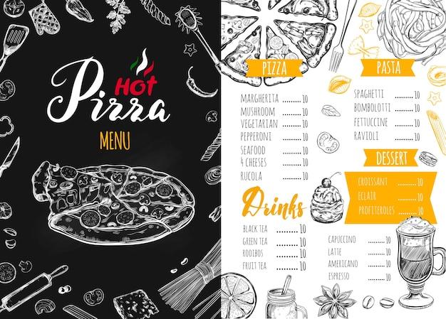 Menu di cibo italiano per un ristorante