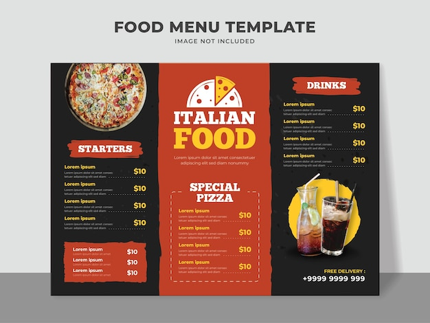 Modello di menu di cibo italiano con menu pizza