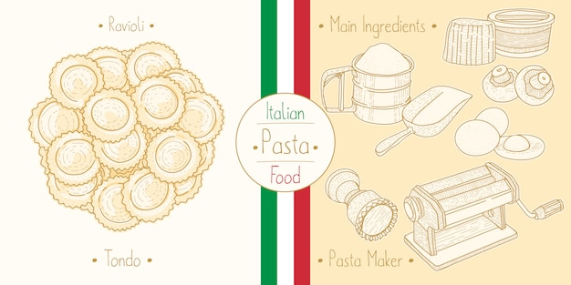 Pasta alimentare italiana con ripieno di ravioli tondo