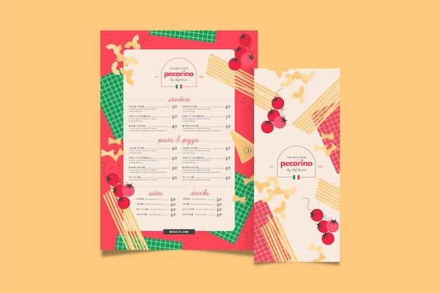 Modello di menu verticale del ristorante di cucina italiana