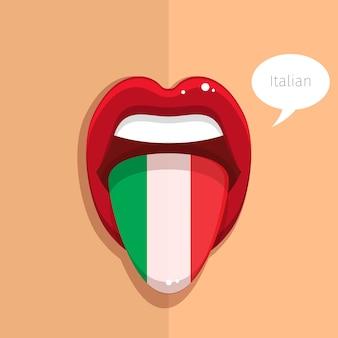 Lingua di lingua italiana bocca aperta con bandiera italiana donna faccia design piatto illustrazione