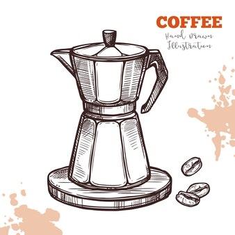 Schizzo disegnato a mano di caffettiera moka italiana