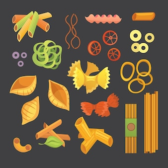 Pasta italiana in cartone animato. diversi tipi e forme di maccheroni con. ravioli, spaghetti, illustrazione di tortiglioni isolata