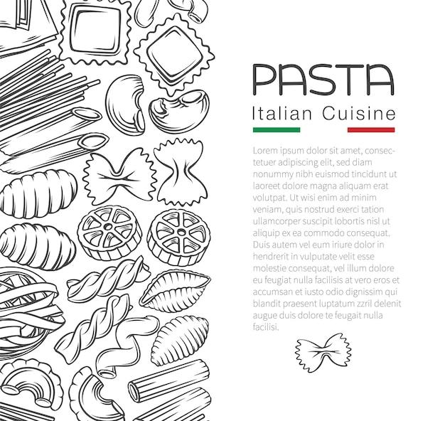 Illustrazione del profilo del menu della pagina del modello dei maccheroni della pasta italiana in stile retrò