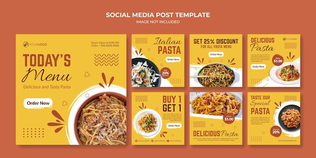 Modello di post instagram social media pasta italiana per ristorante o bar
