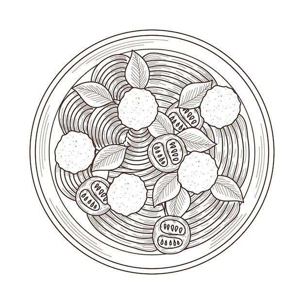 Spaghetti e polpette di pasta italiana