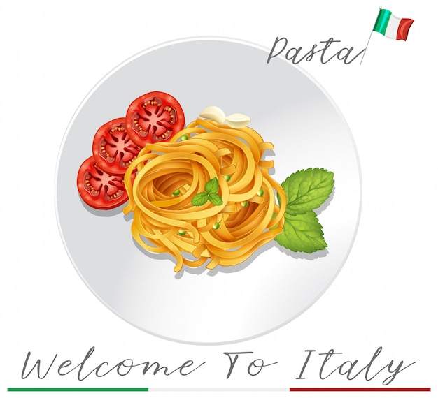 Pasta italiana su sfondo bianco