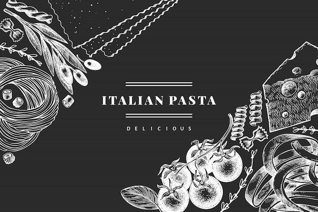 Pasta italiana con modello di aggiunte. illustrazione disegnata a mano dell'alimento sul bordo di gesso. stile inciso. sfondo di diversi tipi di pasta vintage.
