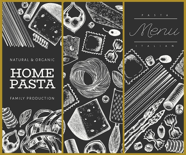 Pasta italiana con modello di aggiunte. illustrazione di cibo disegnato a mano sulla lavagna. stile inciso. sfondo di diversi tipi di pasta vintage.