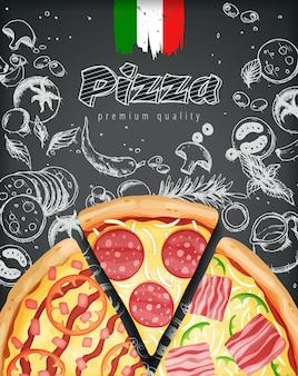 Annunci o menu italiani della pizza con la pasta ricca delle guarnizioni dell'illustrazione
