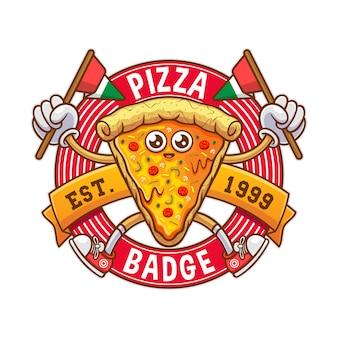 Illustrazione del distintivo di pizza italiana