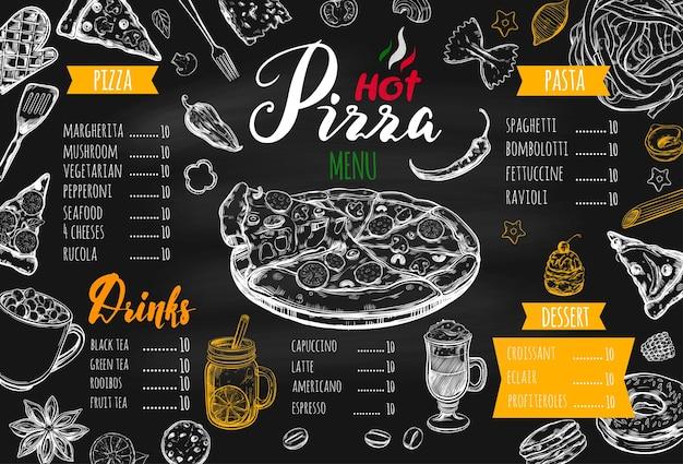 Modello di menu cibo pizza italiana