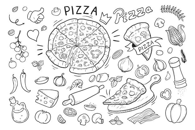 Doodle disegnato a mano di pizza italiana