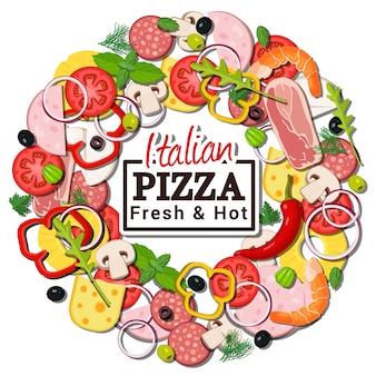 Pizza italiana ingredienti tondo concetto