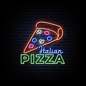 Pizza italiana insegne al neon in stile testo