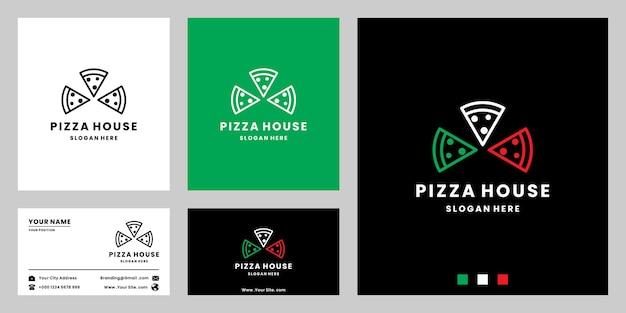 Pizza italiana, design del logo del cibo pizzeria