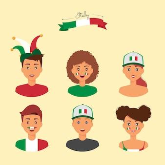 Tifosi italiani con accessori, pitture per il viso e attrezzature per supportare la squadra del proprio paese