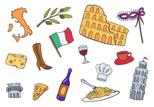 L'italia doodle collezioni di set disegnati a mano con illustrazione vettoriale di stile piatto contorno