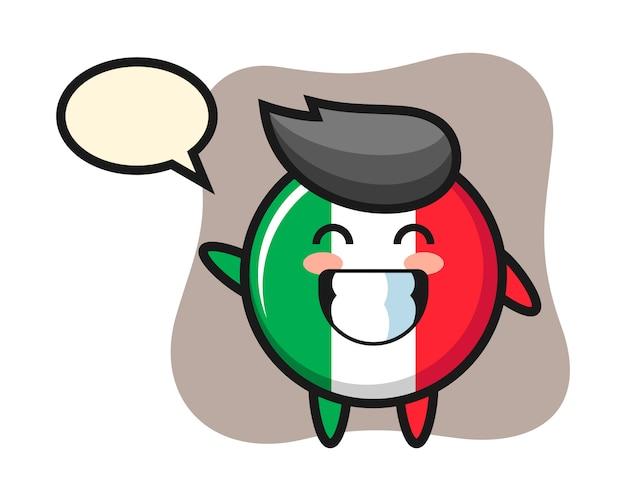 Personaggio dei cartoni animati del distintivo della bandiera dell'italia che fa gesto della mano dell'onda, stile sveglio, adesivo, elemento di logo