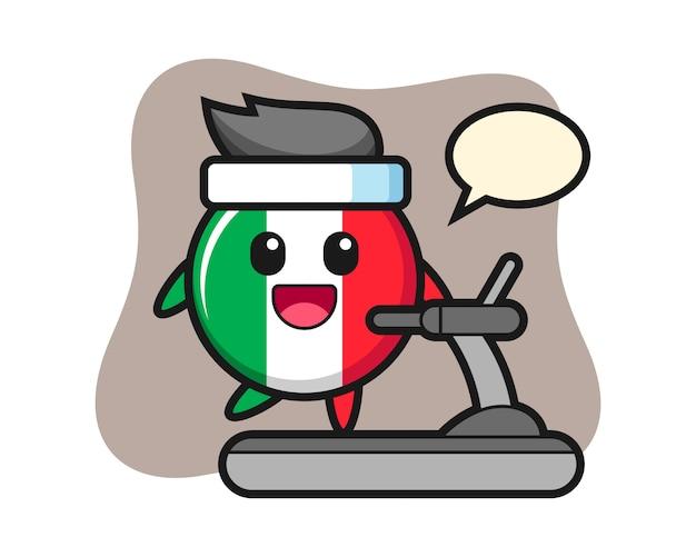 Personaggio dei cartoni animati del distintivo della bandiera dell'italia che cammina sul tapis roulant, stile carino, adesivo, elemento del logo