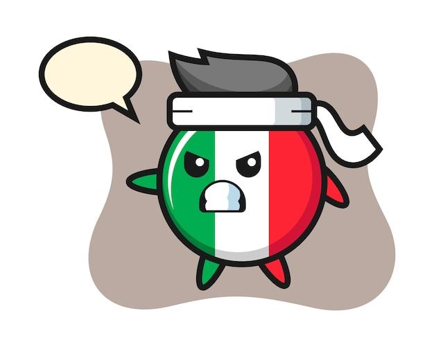 Illustrazione del fumetto del distintivo della bandiera dell'italia come combattente di karate, stile carino, adesivo, elemento del logo