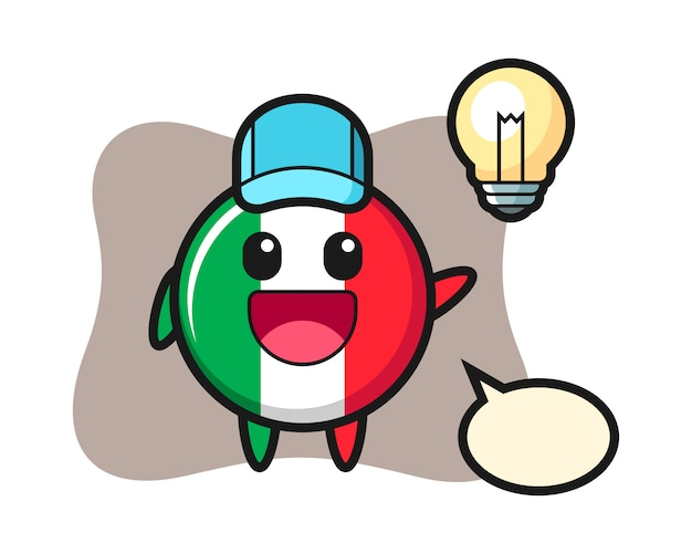 Fumetto del carattere del distintivo della bandiera dell'italia che ottiene l'idea, stile sveglio, adesivo, elemento di logo