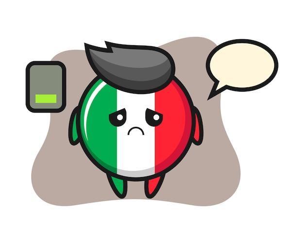Carattere della mascotte del distintivo della bandiera dell'italia che fa un gesto stanco, stile carino, adesivo, elemento del logo