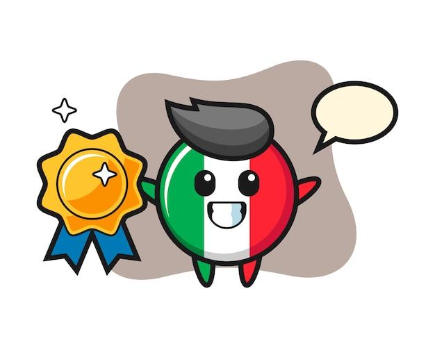 Illustrazione della mascotte del distintivo della bandiera dell'italia che tiene un distintivo dorato, stile sveglio, adesivo, elemento di logo