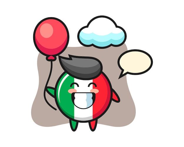 L'illustrazione della mascotte del distintivo della bandiera dell'italia sta giocando a palloncino, stile carino, adesivo, elemento del logo