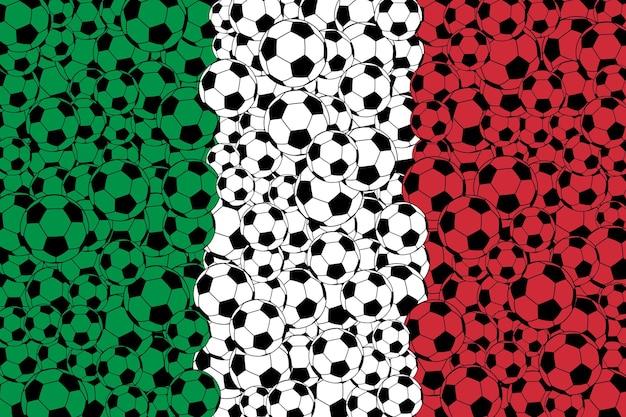 Bandiera dell'italia, composta da palloni da calcio nei colori verde, bianco e rosso