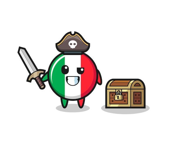 Il personaggio pirata della bandiera italiana tiene la spada accanto a una scatola del tesoro, design in stile carino per maglietta, adesivo, elemento logo