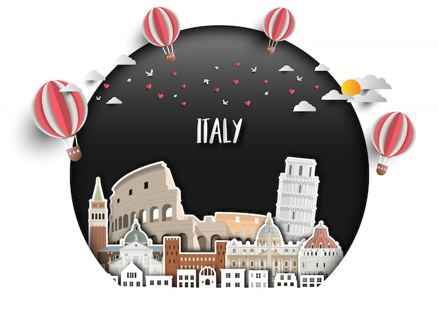 Fondo globale della carta di viaggio e di viaggio del punto di riferimento dell'italia.