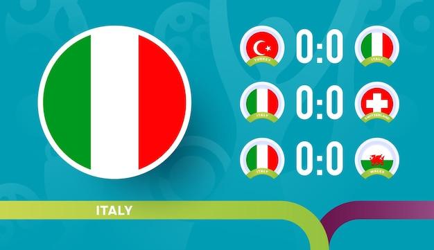 Nazionale italiana programma le partite della fase finale del campionato di calcio 2020 Vettore Premium