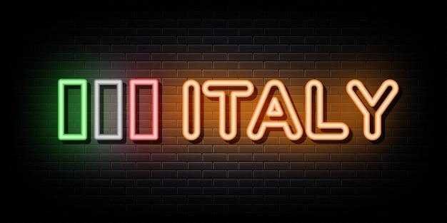 Simbolo al neon dell'insegna al neon dell'italia
