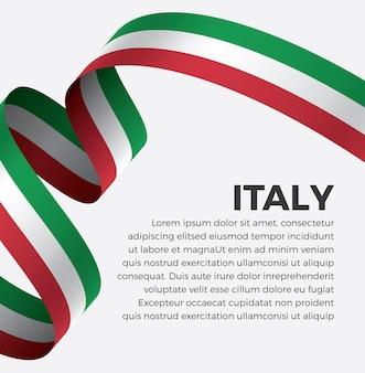 Illustrazione di vettore della bandiera del nastro dell'italia su una priorità bassa bianca vettore premium