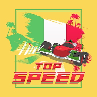 Manifesto dell'illustrazione della velocità massima dell'italia con il design dell'auto da corsa di formula e
