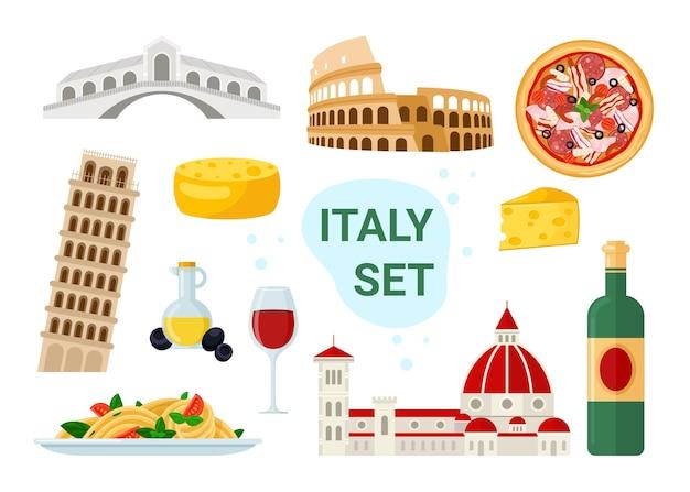 Insieme dell'illustrazione del turismo in italia. menu di cibi e bevande italiani famosi dei cartoni animati con pizza spaghetti