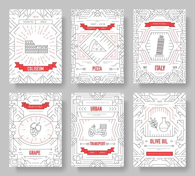Insieme di sottile linea di carte brochure vettore italia. modello di viaggio paese di flyear, riviste, poster.