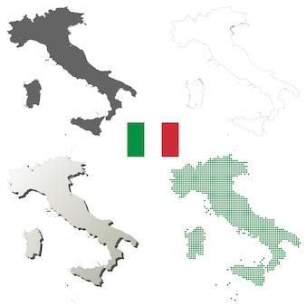 Insieme di mappa di contorno vettoriale italia