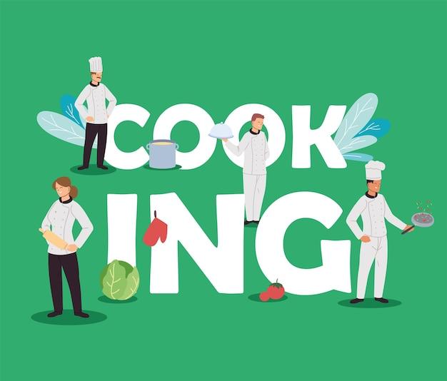 Chef iteam che cucinano per la progettazione dell'illustrazione del ristorante