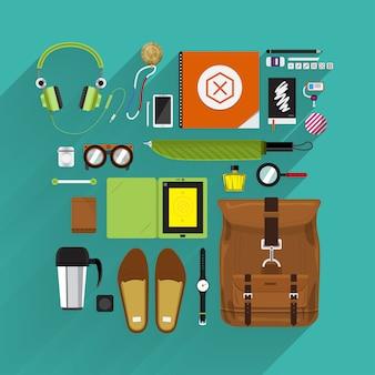 Stile di vita e marketing degli articoli in vista dall'alto per piattaforma e longshadow