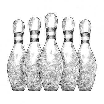 Gli articoli per il bowling di cinque birilli stanno in fila.