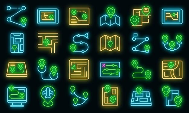 Icone di itinerario impostate vettore neon