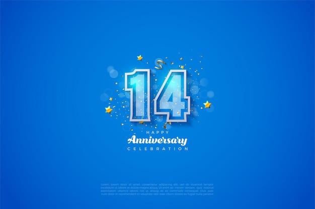 È il 14 ° anniversario con numeri in grassetto bordati di bianco.