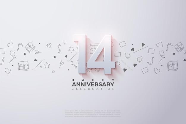 È il 14 ° anniversario con un numero 3d sbiadito in alto.