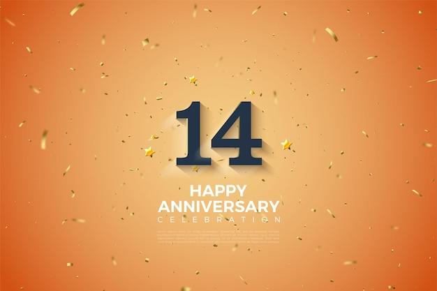 È il 14 ° anniversario con numeri sfumati in bianco tenue.