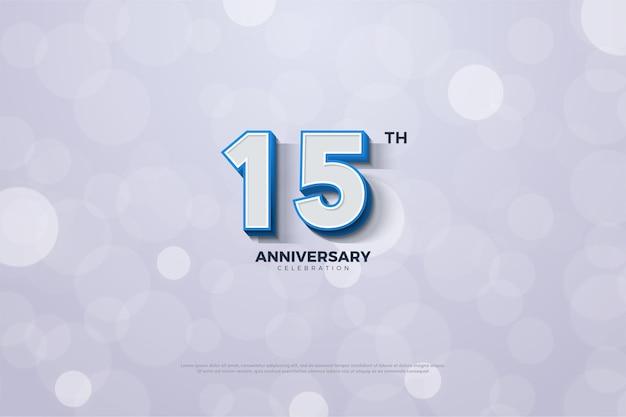 Il suo 15 ° anniversario con numeri in rilievo e una striscia blu sui bordi