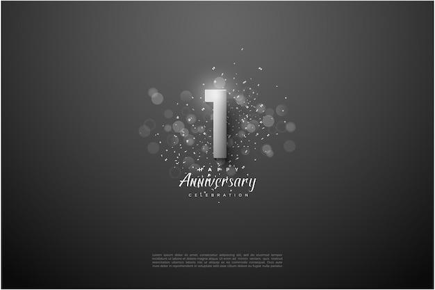 Il suo 1 ° anniversario con numeri d'argento e effetto cerchio luminoso sul davanti.