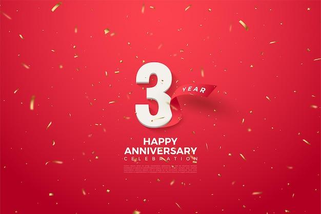 Il suo anniversario con numeri e un nastro rosso curvo dietro di esso.